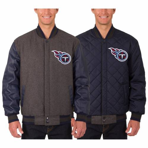JH DESIGN テネシー タイタンズ レザー リバーシブル & 【 TENNESSEE TITANS WOOL LEATHER REVERSIBLE JACKET WITH EMBROIDERED LOGOS CHARCOAL 】 メンズファッション コート ジャケット 送料無料