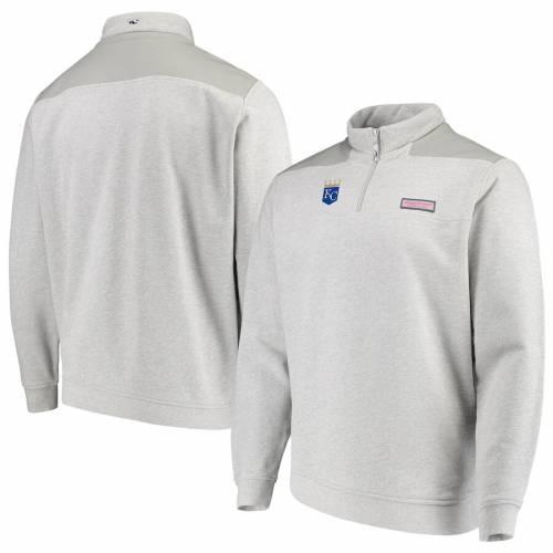 VINEYARD VINES カンザス シティ ロイヤルズ 灰色 グレー グレイ メンズファッション コート ジャケット メンズ 【 Kansas City Royals Shep Shirt Quarter-zip Pullover Jacket - Gray 】 Gray