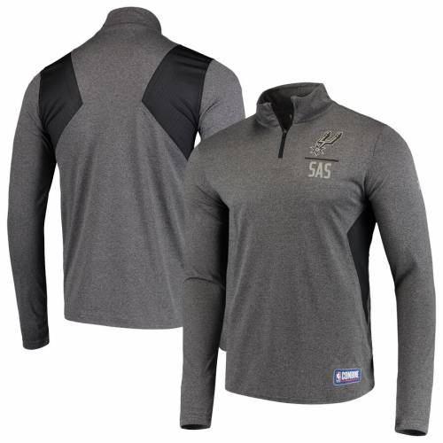 アンダーアーマー UNDER ARMOUR スパーズ オーセンティック テック チャコール メンズファッション コート ジャケット メンズ 【 San Antonio Spurs Combine Authentic Season Tech Quarter-zip Pullover Jacket -
