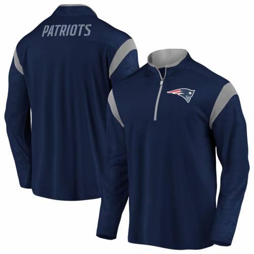 NFL PRO LINE BY FANATICS BRANDED ペイトリオッツ ディフェンダー 紺 ネイビー メンズファッション コート ジャケット メンズ 【 New England Patriots Big And Tall Iconic Defender Mission Quarter-zip Pullover Jacket