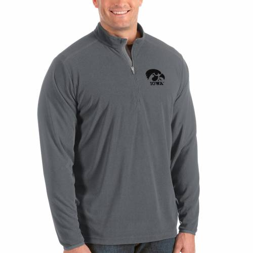 ANTIGUA メンズファッション コート ジャケット メンズ 【 Iowa Hawkeyes Big And Tall Glacier Half-zip Pullover Jacket - Black/gray 】 Gray