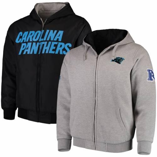 G-III SPORTS BY CARL BANKS カロライナ パンサーズ リバーシブル メンズファッション コート ジャケット メンズ 【 Carolina Panthers Reversible Hooded Full Zip Jacket - Gray/black 】 Gray/black