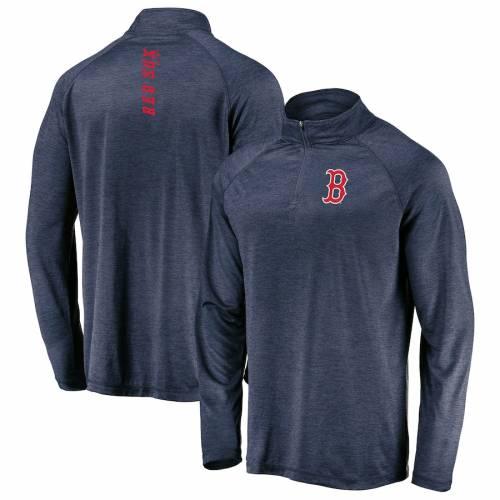 マジェスティック MAJESTIC ボストン 赤 レッド ラグラン 紺 ネイビー メンズファッション コート ジャケット メンズ 【 Boston Red Sox Contenders Welcome Raglan Quarter-zip Pullover Jacket - Heathered Navy 】