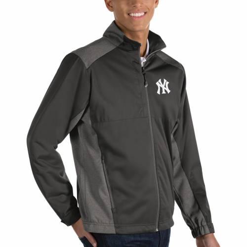 ANTIGUA ヤンキース チャコール メンズファッション コート ジャケット メンズ 【 New York Yankees Revolve Full-zip Jacket - Charcoal 】 Charcoal