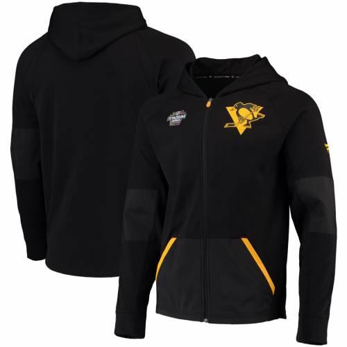FANATICS BRANDED ピッツバーグ 黒 ブラック メンズファッション コート ジャケット メンズ 【 Pittsburgh Penguins Rinkside Grid-back Full-zip Jacket - Black 】 Black