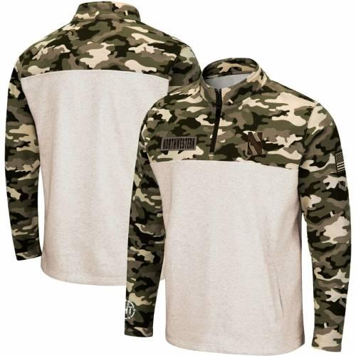 COLOSSEUM メンズファッション コート ジャケット メンズ 【 Northwestern Wildcats Oht Military Appreciation Desert Camo Quarter-zip Pullover Jacket - Oatmeal 】 Oatmeal