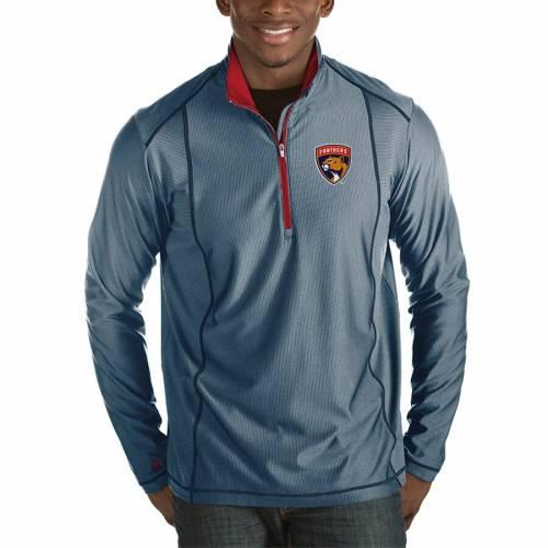 ANTIGUA フロリダ パンサーズ チャコール メンズファッション コート ジャケット メンズ 【 Florida Panthers Tempo Desert Dry 1/2-zip Pullover Jacket - Charcoal 】 Heather Navy