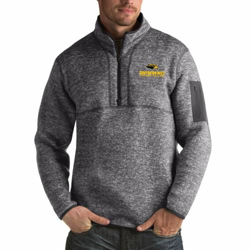 ANTIGUA イーグルス 黒 ブラック メンズファッション コート ジャケット メンズ 【 Southern Miss Golden Eagles Fortune Big And Tall Quarter-zip Pullover Jacket - Black 】 Charcoal
