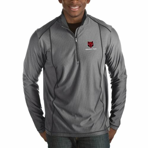 ANTIGUA スケートボード 赤 レッド 黒 ブラック メンズファッション コート ジャケット メンズ 【 Arkansas State Red Wolves Tempo Half-zip Pullover Big And Tall Jacket - Black 】 Charcoal
