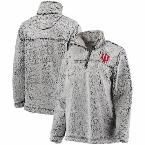 BOXERCRAFT インディアナ レディース 灰色 グレー グレイ 【 Indiana Hoosiers Womens Sherpa Super Soft Quarter-zip Pullover Jacket - Gray 】 Gray