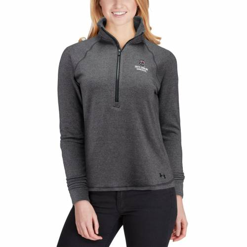アンダーアーマー UNDER ARMOUR カロライナ レディース パフォーマンス フリース 黒 ブラック 【 South Carolina Gamecocks Womens Performance Tri-blend Fleece 1/2-zip Jacket - Heathered Black 】 Heathered Black