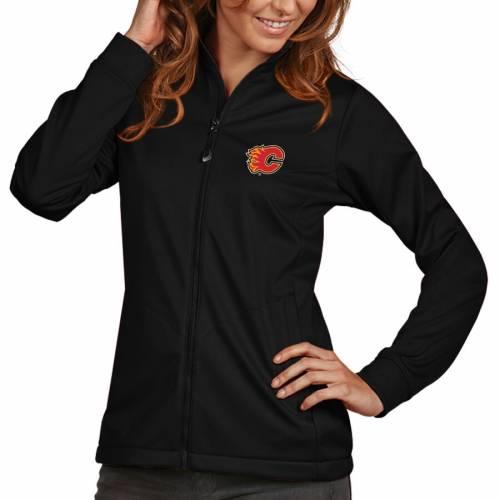 ANTIGUA レディース ゴルフ 黒 ブラック 【 Calgary Flames Womens Golf Full Zip Jacket - Black 】 Black
