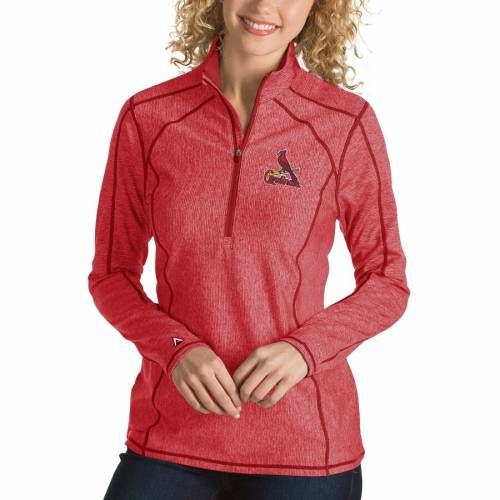 ANTIGUA カーディナルス レディース チャコール St. 【 St. Louis Cardinals Womens Tempo Desert Dry 1/4-zip Pullover Jacket - Heathered Charcoal 】 Red