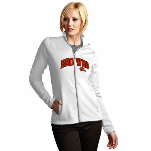 ANTIGUA クリーブランド ブラウンズ レディース グラフィック 白 ホワイト 【 Cleveland Browns Womens Leader Full Chest Graphic Desert Dry Full-zip Jacket - White 】 White