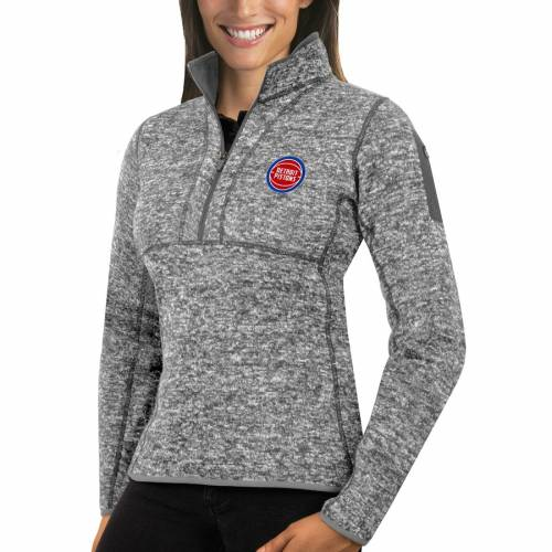 ANTIGUA デトロイト ピストンズ レディース ヘザー 灰色 グレー グレイ 【 Detroit Pistons Womens Fortune Half-zip Pullover Jacket - Heather Gray 】 Heather Gray