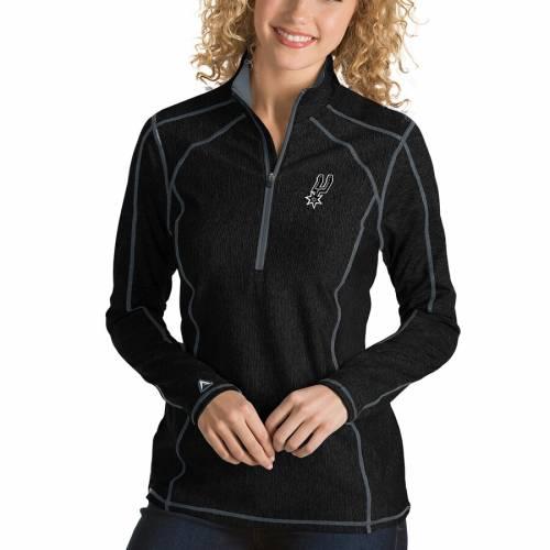 ANTIGUA スパーズ レディース 黒 ブラック 【 San Antonio Spurs Womens Tempo Half-zip Pullover Jacket - Black 】 Black