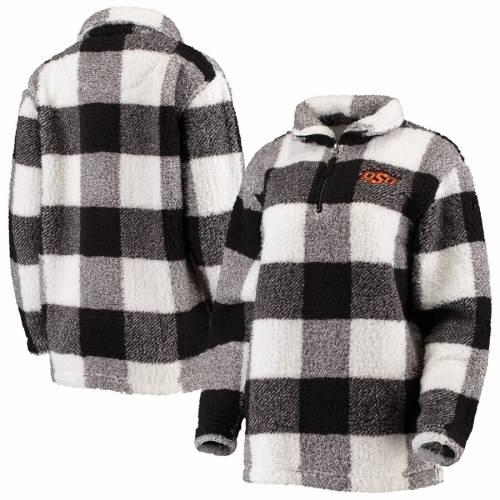 BOXERCRAFT スケートボード カウボーイズ レディース 【 Oklahoma State Cowboys Womens Plaid Sherpa Quarter-zip Pullover Jacket - Black/cream 】 Black/cream