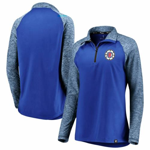 FANATICS BRANDED クリッパーズ レディース パフォーマンス ラグラン スリーブ 【 La Clippers Womens Made To Move Static Performance Raglan Sleeve Quarter-zip Pullover Jacket - Royal/heathered Royal 】 Royal/heathered Royal
