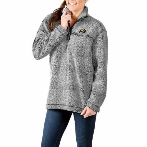 BOXERCRAFT コロラド レディース 灰色 グレー グレイ 【 Colorado Buffaloes Womens Sherpa Super Soft Quarter-zip Pullover Jacket - Gray 】 Gray