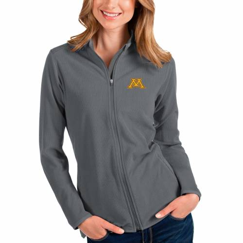 ANTIGUA ミネソタ レディース 【 Minnesota Golden Gophers Womens Glacier Full-zip Jacket - Charcoal/gray 】 Charcoal/gray
