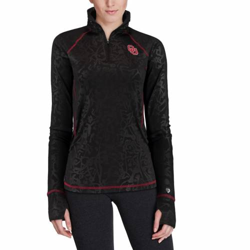 COLOSSEUM レディース フリー 黒 ブラック 【 Oklahoma Sooners Womens Free Riding Textured Quarter-zip Pullover Jacket - Black 】 Black