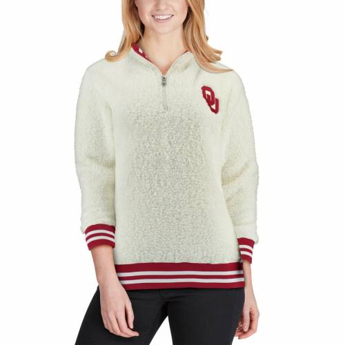 BOXERCRAFT レディース チャコール 【 Oklahoma Sooners Womens Varsity Banded Sherpa Quarter-zip Pullover Jacket - Charcoal 】 Cream