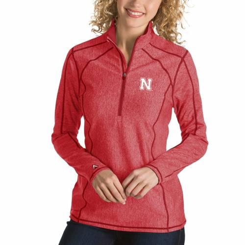 ANTIGUA レディース 【 Nebraska Cornhuskers Womens Tempo 1/4-zip Desert Dry Pullover Jacket - Scarlet 】 Scarlet