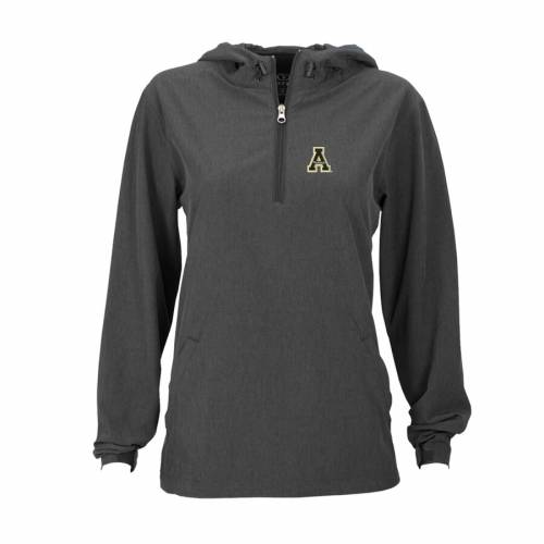 VANTAGE APPAREL スケートボード レディース チャコール 【 Appalachian State Mountaineers Womens Pullover Stretch Anorak Jacket - Charcoal 】 Charcoal