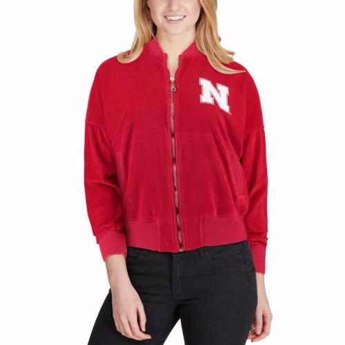 SPIRIT JERSEY レディース ベロア 【 Nebraska Cornhuskers Womens Velour Bomber Jacket - Scarlet 】 Scarlet