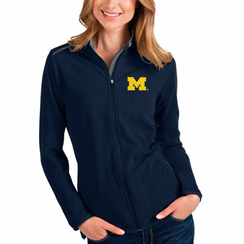 ANTIGUA ミシガン レディース 【 Michigan Wolverines Womens Glacier Full-zip Jacket 】 Navy