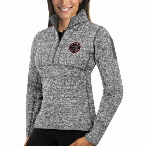 ANTIGUA トロント ラプターズ レディース ヘザー 灰色 グレー グレイ 【 Toronto Raptors Womens Fortune Half-zip Pullover Jacket - Heather Gray 】 Heather Gray