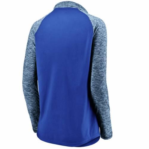 FANATICS BRANDED ダラス マーベリックス レディース パフォーマンス ラグラン スリーブ 青 ブルー 【 Dallas Mavericks Womens Made To Move Static Performance Raglan Sleeve Quarter-zip Pullover Jacket - Blue/heathered Bl