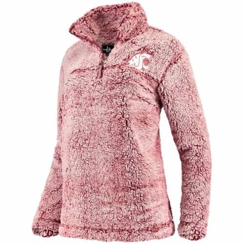 BOXERCRAFT ワシントン スケートボード レディース 【 Washington State Cougars Womens Sherpa Super Soft Quarter-zip Pullover Jacket 】 Crimson