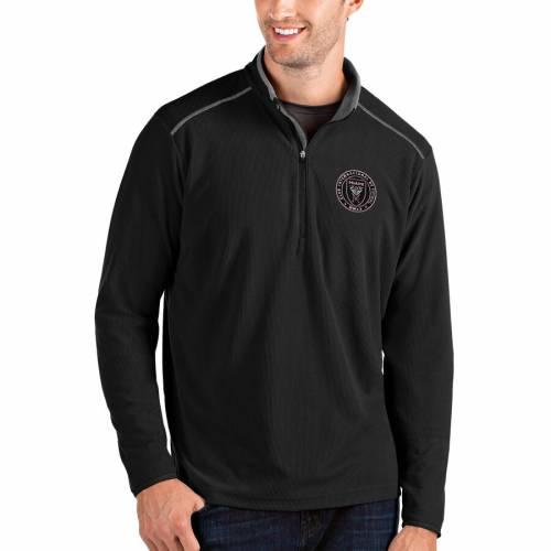 ANTIGUA マイアミ 黒 ブラック メンズファッション コート ジャケット メンズ 【 Inter Miami Cf Glacier Quarter-zip Pullover Jacket - Black 】 Black