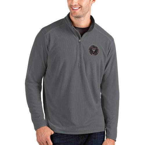ANTIGUA マイアミ 黒 ブラック メンズファッション コート ジャケット メンズ 【 Inter Miami Cf Glacier Quarter-zip Pullover Jacket - Black 】 Heather Gray