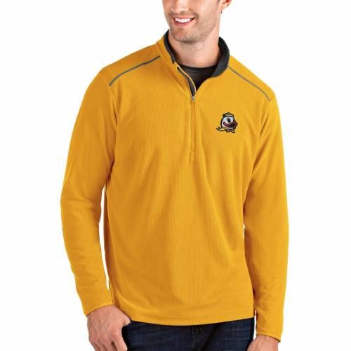 ANTIGUA オレゴン メンズファッション コート ジャケット メンズ 【 Oregon Ducks Glacier Quarter-zip Pullover Jacket - Gray/charcoal 】 Yellow