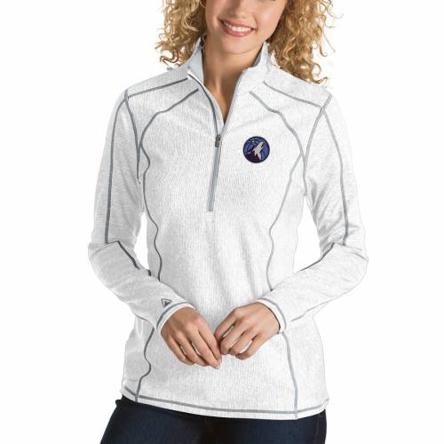 ANTIGUA ミネソタ ティンバーウルブズ レディース ヘザー 紺 ネイビー 【 Minnesota Timberwolves Womens Tempo Half-zip Pullover Jacket - Heather Navy 】 White
