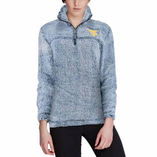 BOXERCRAFT バージニア レディース 【 West Virginia Mountaineers Womens Sherpa Super-soft Quarter-zip Pullover Jacket 】 Navy
