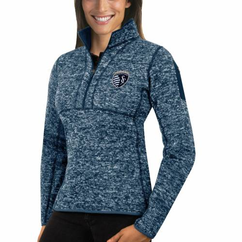 ANTIGUA カンザス シティ レディース 紺 ネイビー 【 Sporting Kansas City Womens Fortune Quarter-zip Pullover Jacket - Navy 】 Navy