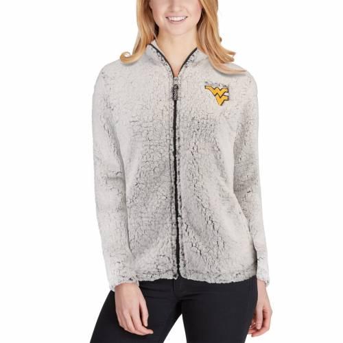 BOXERCRAFT バージニア レディース クリーム 【 West Virginia Mountaineers Womens Sherpa Full-zip Jacket - Cream 】 Heather Gray