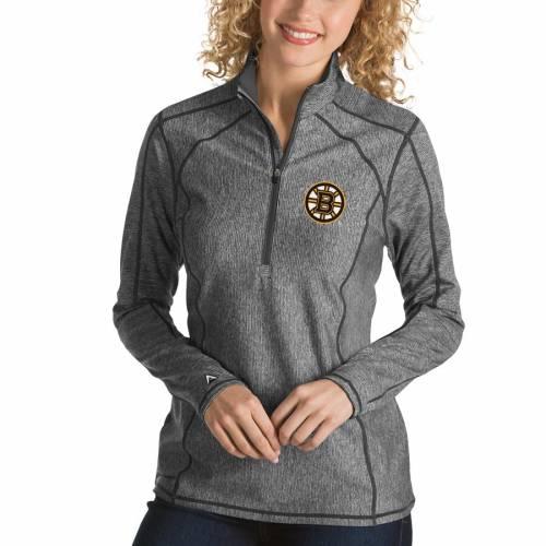 ANTIGUA ボストン レディース チャコール 【 Boston Bruins Womens Tempo Desert Dry 1/2-zip Pullover Jacket - Charcoal 】 Charcoal