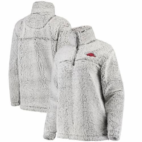 BOXERCRAFT レディース 灰色 グレー グレイ 【 Arkansas Razorbacks Womens Sherpa Super Soft Quarter Zip Pullover Jacket - Gray 】 Gray
