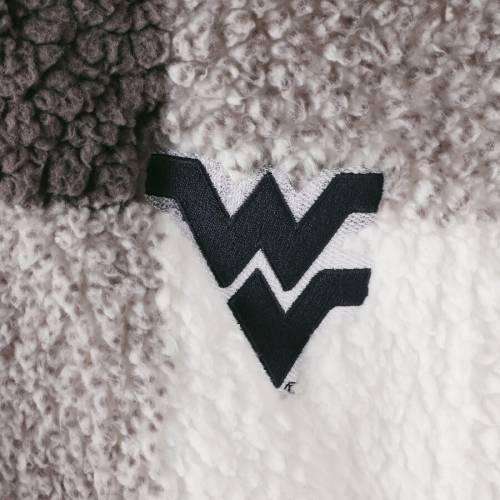 BOXERCRAFT バージニア レディース 【 West Virginia Mountaineers Womens Plus Size Plaid Sherpa Quarter-zip Pullover Jacket - Gray/cream 】 Gray/cream