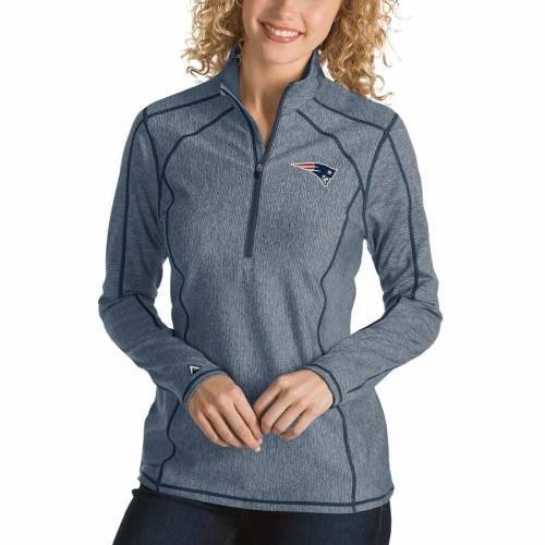ANTIGUA ペイトリオッツ レディース ヘザー 紺 ネイビー 【 New England Patriots Womens Tempo Desert Dry Quarter-zip Jacket - Heather Navy 】 Heather Navy