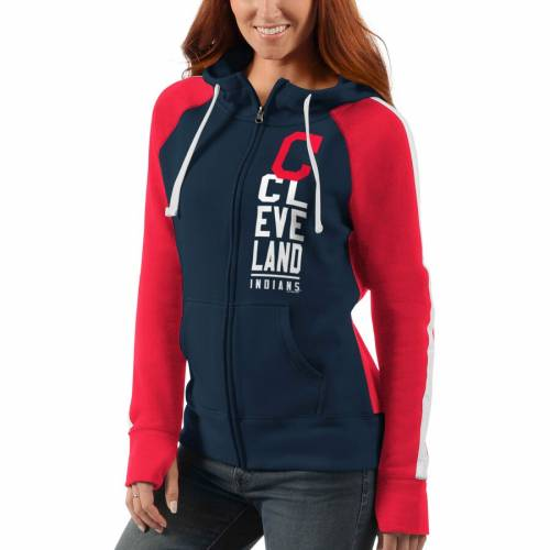 G-III 4HER BY CARL BANKS クリーブランド インディアンズ レディース ゲーム ラグラン 【 Cleveland Indians Womens Game Changer Raglan Full-zip Jacket - Navy/red 】 Navy/red