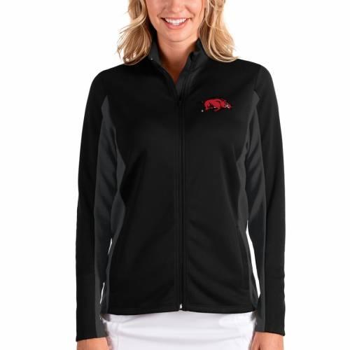 ANTIGUA レディース 【 Arkansas Razorbacks Womens Passage Full-zip Jacket - Black/charcoal 】 Black/charcoal