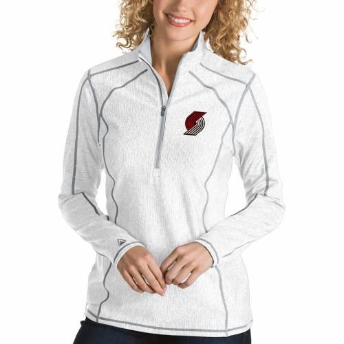 【スーパーセール中! 6/11深夜2時迄】ANTIGUA ポートランド レディース 白 ホワイト 【 Portland Trail Blazers Womens Tempo Half-zip Pullover Jacket - White 】 White