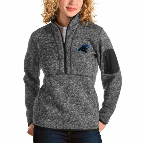ANTIGUA カロライナ パンサーズ レディース 【 Carolina Panthers Womens Fortune Half-zip Pullover Jacket - Oatmeal 】 Charcoal
