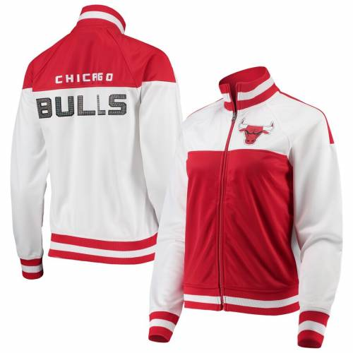 G-III 4HER BY CARL BANKS シカゴ ブルズ レディース トラック 【 Chicago Bulls Womens Tip-off Rhinestone Tricot Full-zip Track Jacket - White/red 】 White/red