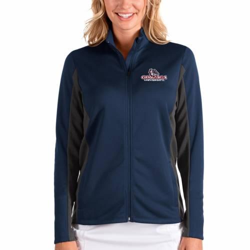 【スーパーセール中! 6/11深夜2時迄】ANTIGUA ゴンザガ レディース 【 Gonzaga Bulldogs Womens Passage Full-zip Jacket - Navy/charcoal 】 Navy/charcoal